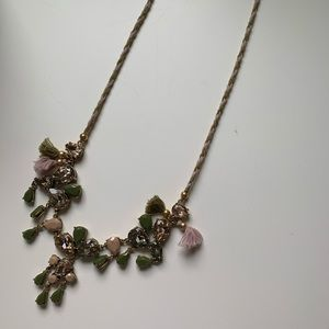 Green and Pink Necklace with Tassles